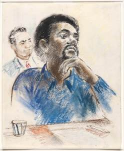 Bobby Seale, chairman of the Black Panther Party, on trial in New Haven, 1971.